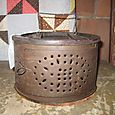 19th Century Tin and Wood Foot Warmer