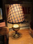 Early Converted Oil Lamp with New Cloth Shade