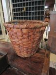 Early Hand Woven Splint Gathering Basket