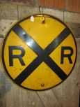 Old Embossed Metal Railroad Crossing Sign