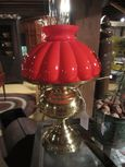 Converted Oil Lamp with Melon Shade