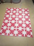 Late 19th Early 20th Century Appliqued Red Pattern on White Quilt