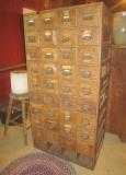 36 Drawer Oak Hardware Cabinet