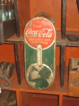 Drink Coca-Cola Sign with Silhouette of Woman Advertising Thermometer