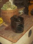 Unusual Tin Shoe Shine Bin/Cobbler's Stand