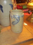 Early 19th Century Blue Decorated Crock