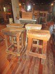 Wooden Primitive Industrial Stools