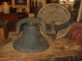 Early Cast Iron Farm Bell with Cradle/Yoke