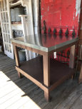 Industrial Work Table with Shelf & Galvinized Top