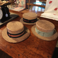 Vintage Men's Straw Hats with Wide Ribbon