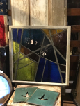 Early Geometric Style Stained Glass in Metal Frame