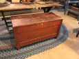 Red Painted Paneled Sides Blanket Chest