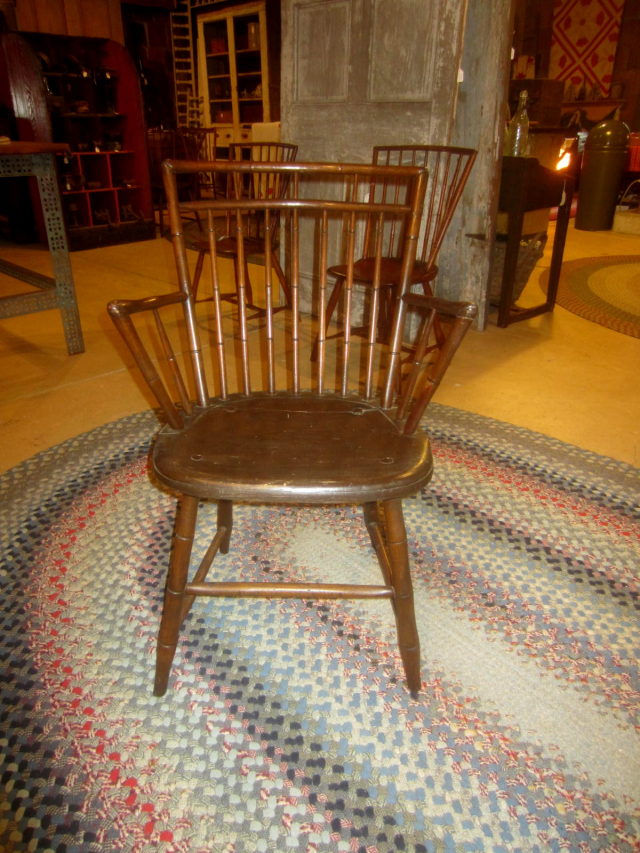 1800-1810 Square Back, Bird Cage Style Windsor Arm Chair