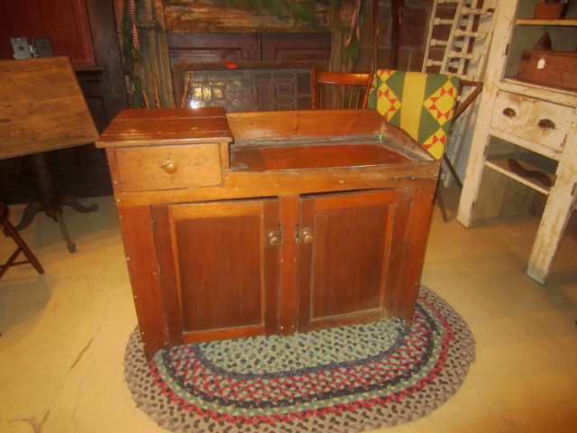 19th Century One Drawer, 2 Door Drysink with Copper Liner