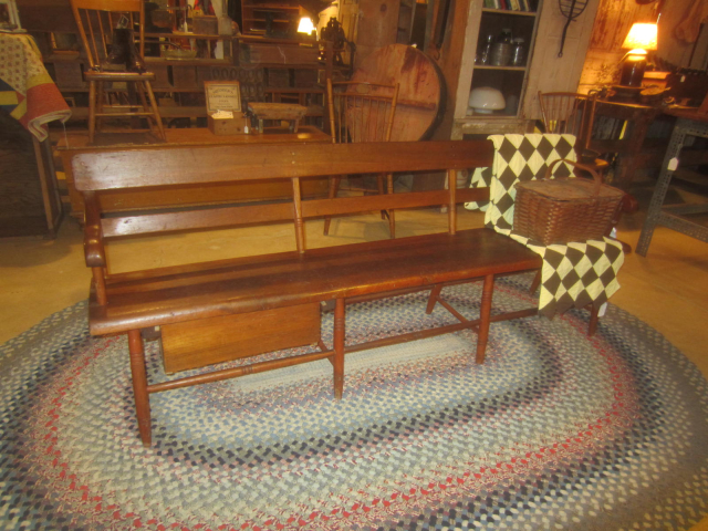 19th Century Pine Bench with Drawer