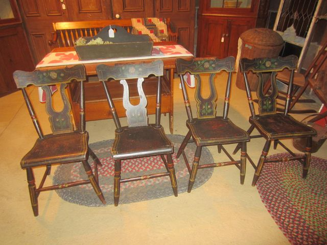 19th Century Set of 4 Paint Decorated Plank Bottom Chairs