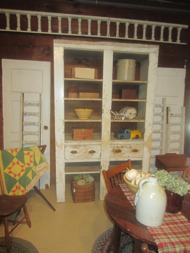 Early Open Primitive Cupboard with 2 Drawers