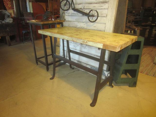Repurposed Industrial Table with Repurposed Butcher Block Top