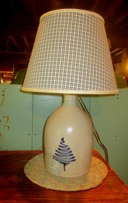 Repurposed Blue Decorated Jug Lamp