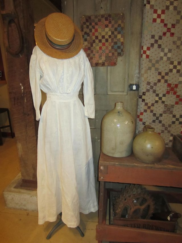 Early Cotton Dress on Dress Form